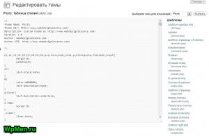 Страница редактора кода шаблона в WordPress.