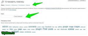 Страница Установки плагинов в Админ-панели WordPress.