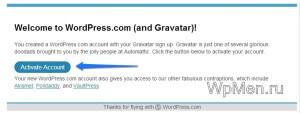 WpMen - Активация аккаунта в Gravatar